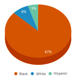 This chart display the percentage breakdown of students of all ethnic groups in Bethune-bowman Middle/high.
