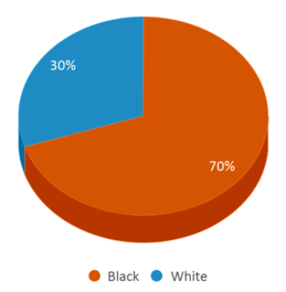 This chart display the percentage breakdown of students of all ethnic groups in Hosston Alternative School.